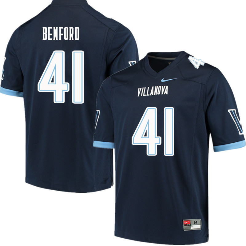 Men #41 Christian Benford Villanova Wildcats College Football Jerseys Sale-Navy