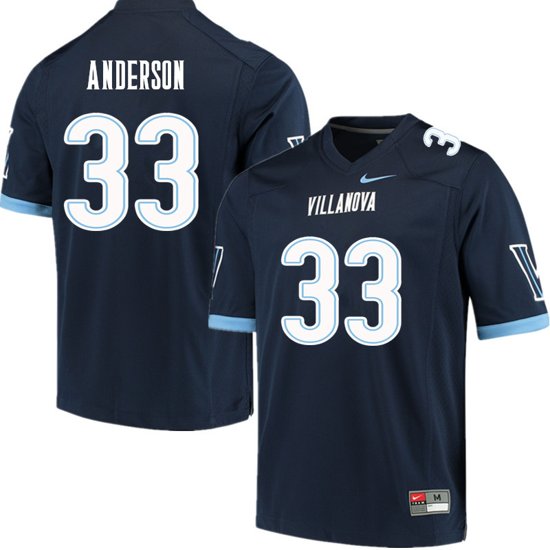 Men #33 Trajan Anderson Villanova Wildcats College Football Jerseys Sale-Navy