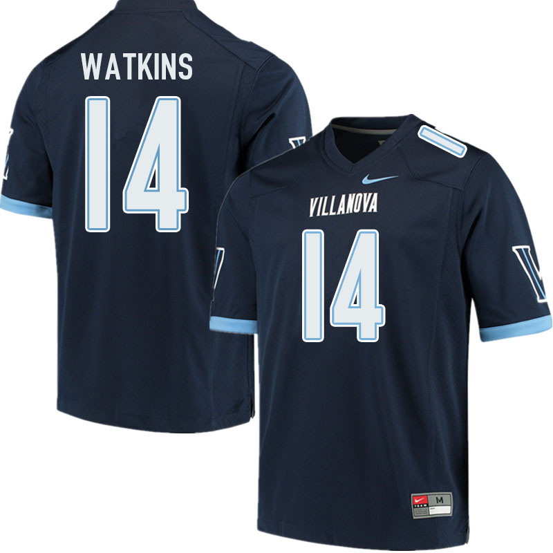 Men #14 Connor Watkins Villanova Wildcats College Football Jerseys Sale-Navy