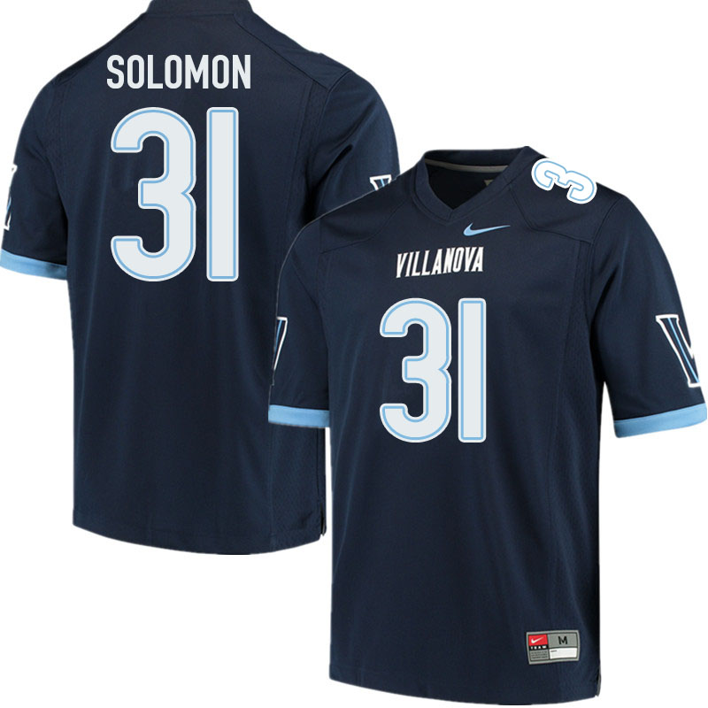 Men #31 Elijah Solomon Villanova Wildcats College Football Jerseys Sale-Navy