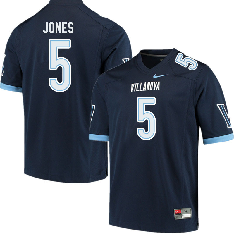 Men #5 Jevon Jones Villanova Wildcats College Football Jerseys Sale-Navy