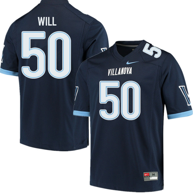Men #50 Tyler Will Villanova Wildcats College Football Jerseys Sale-Navy