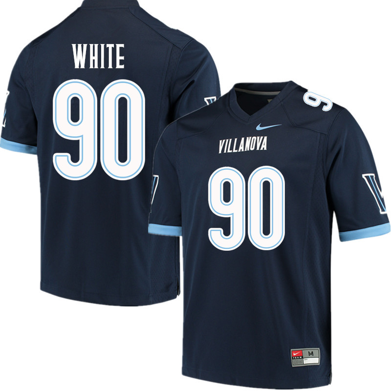 Men #90 Bryan White Villanova Wildcats College Football Jerseys Sale-Navy