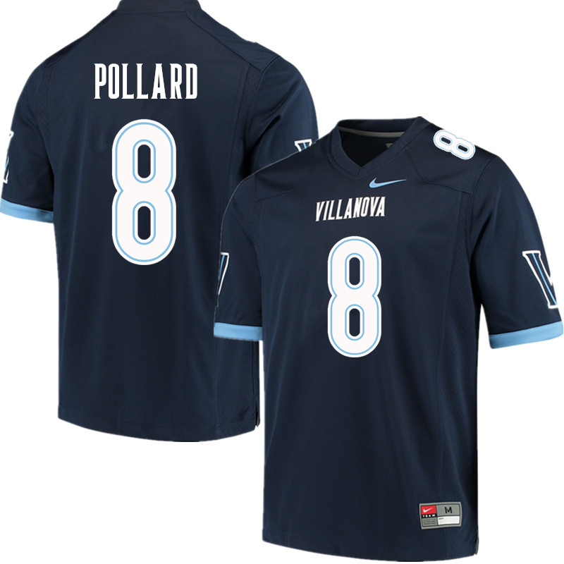 Men #8 D'Andre Pollard Villanova Wildcats College Football Jerseys Sale-Navy