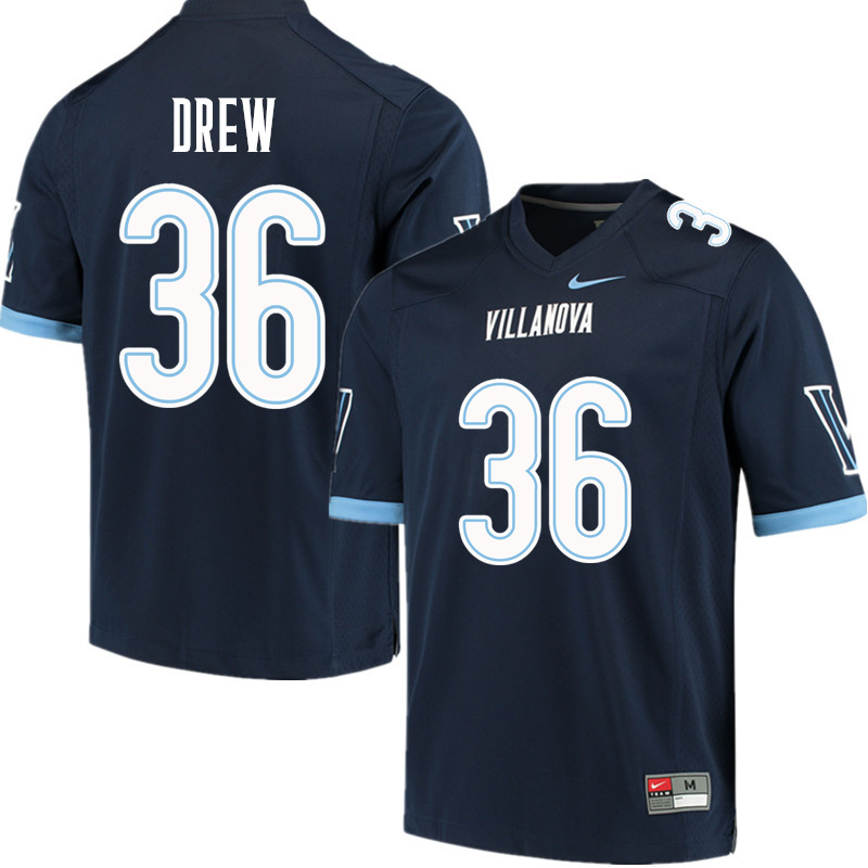 Men #36 Damone Drew Villanova Wildcats College Football Jerseys Sale-Navy