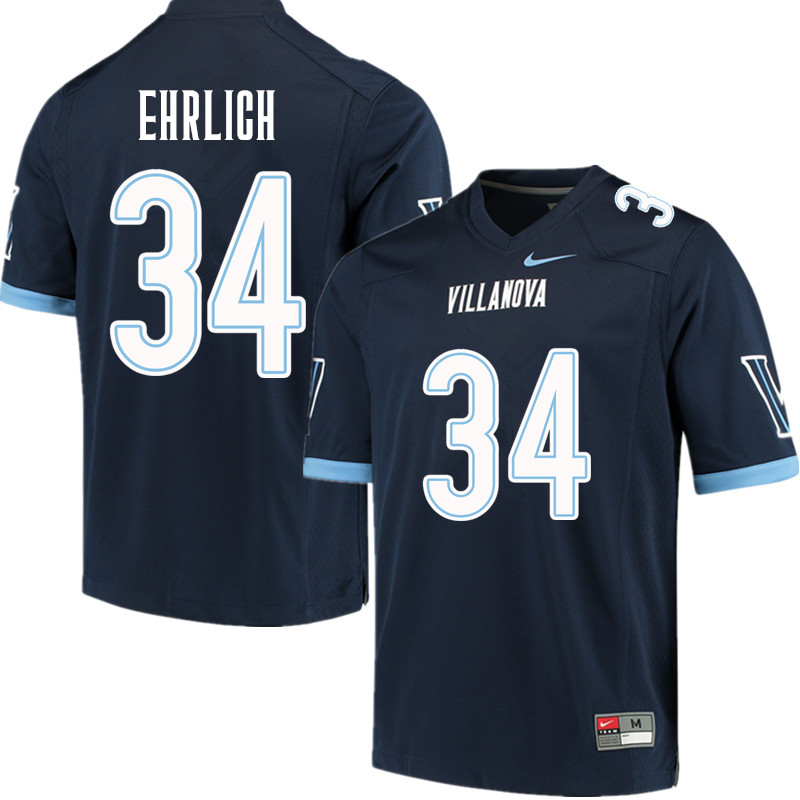 Men #34 Drew Ehrlich Villanova Wildcats College Football Jerseys Sale-Navy