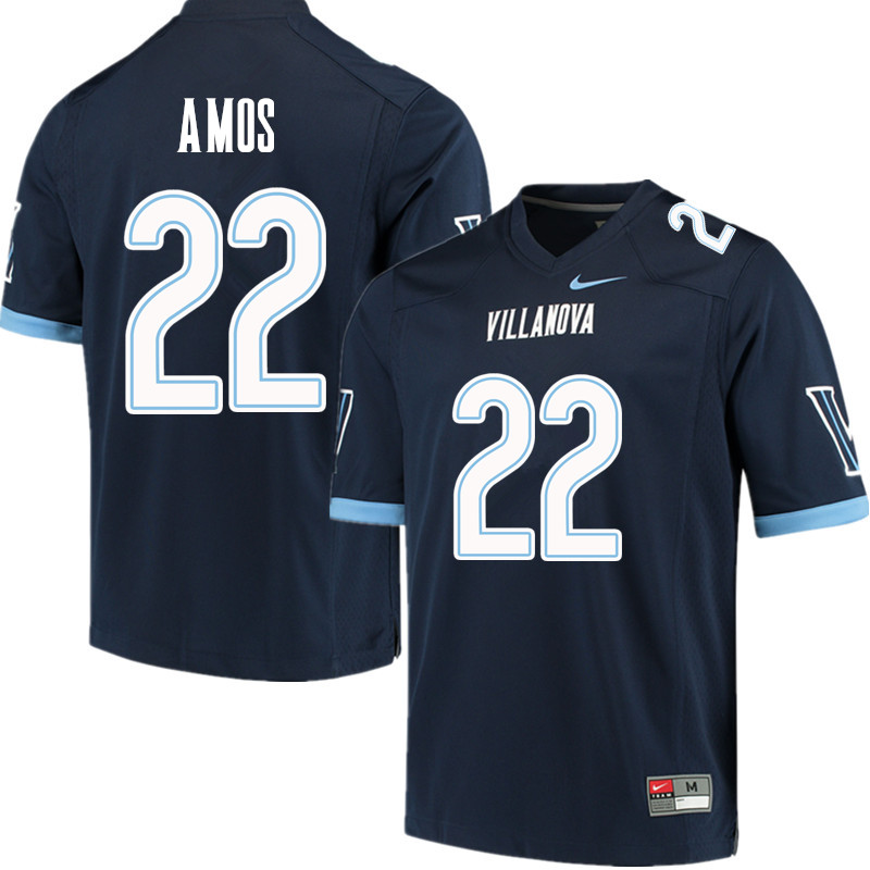 Men #22 Jaquan Amos Villanova Wildcats College Football Jerseys Sale-Navy