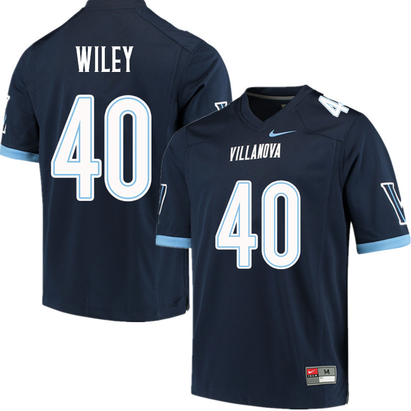 Men #40 Jeff Wiley Villanova Wildcats College Football Jerseys Sale-Navy