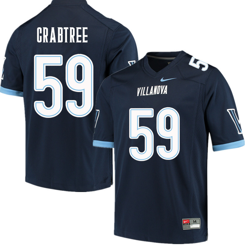 Men #59 Kevin Crabtree Villanova Wildcats College Football Jerseys Sale-Navy