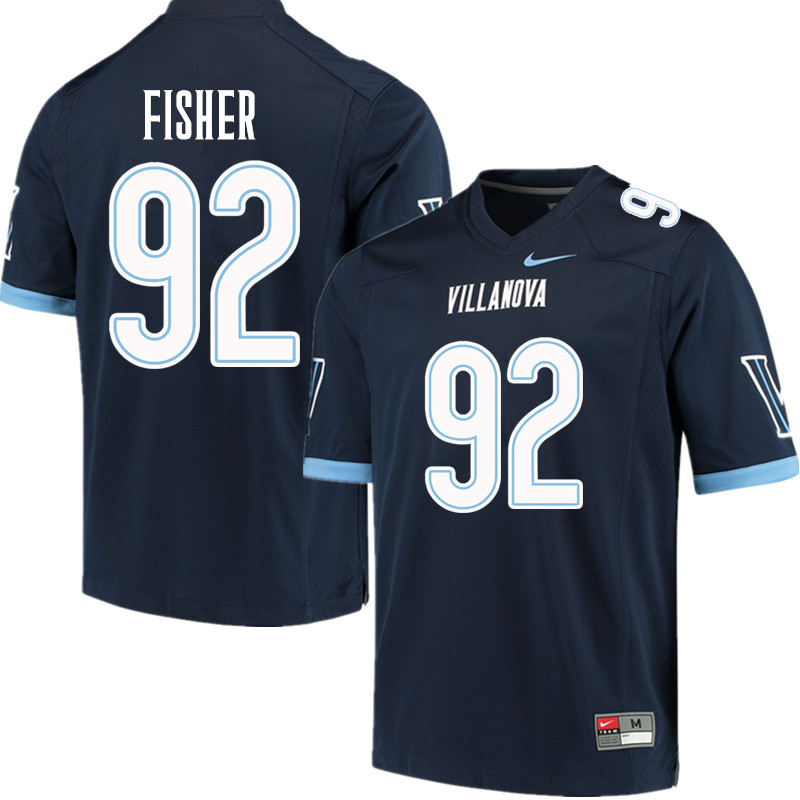 Men #92 Malik Fisher Villanova Wildcats College Football Jerseys Sale-Navy