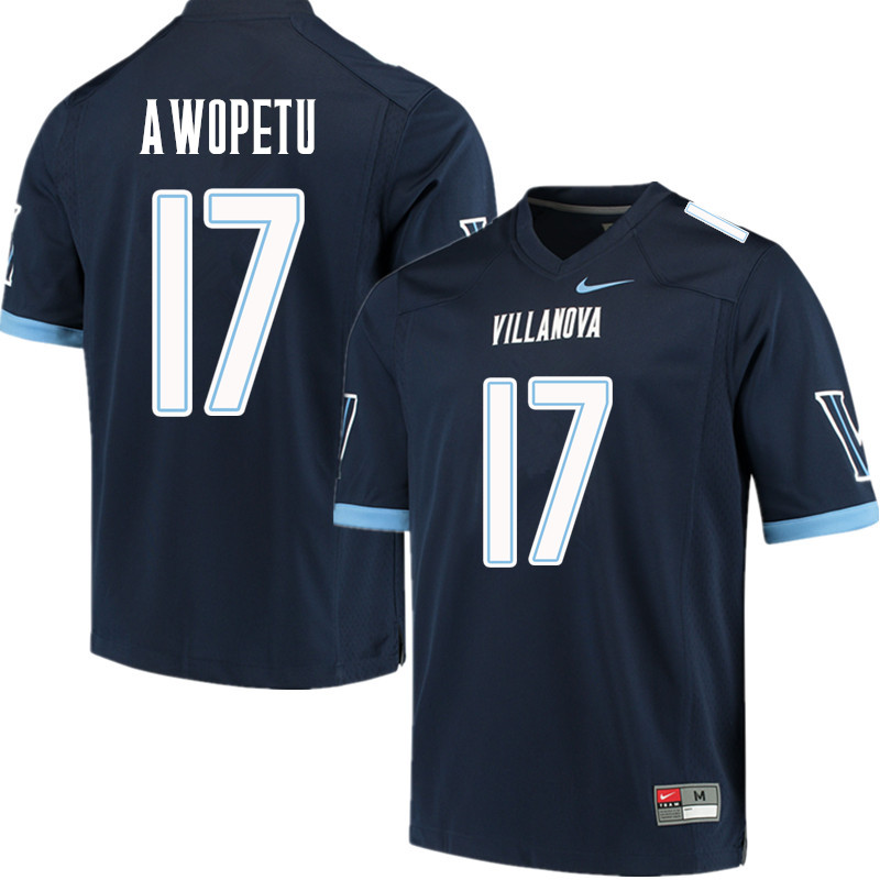 Men #17 Nowooola Awopetu Villanova Wildcats College Football Jerseys Sale-Navy