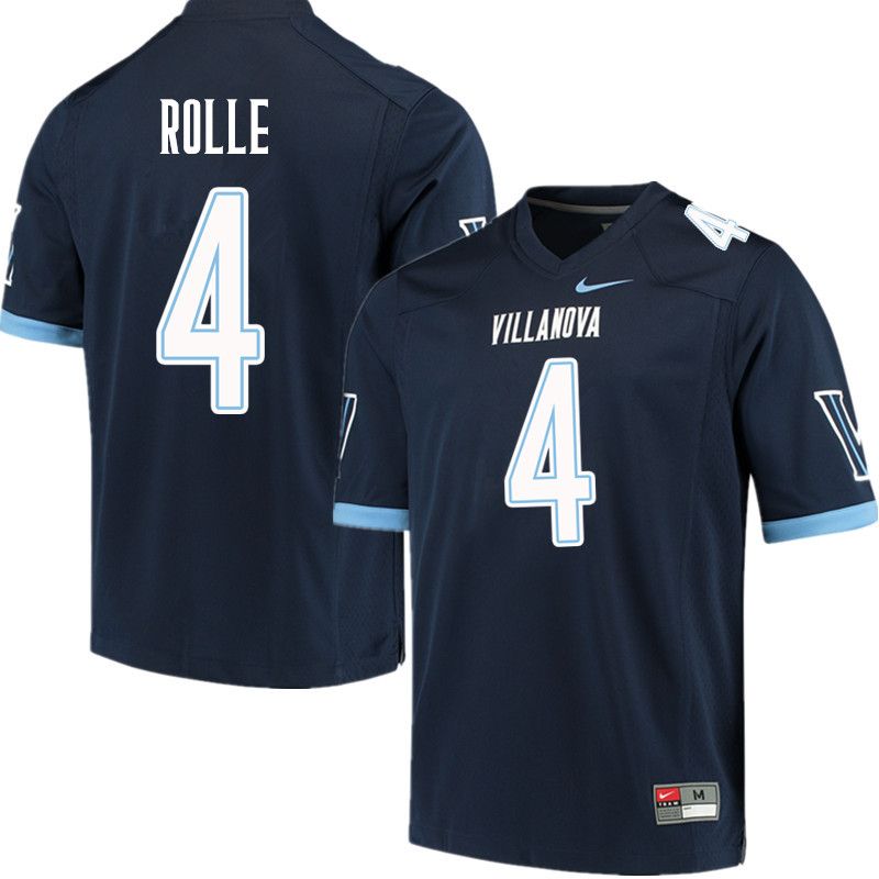 Men #4 Rob Rolle Villanova Wildcats College Football Jerseys Sale-Navy