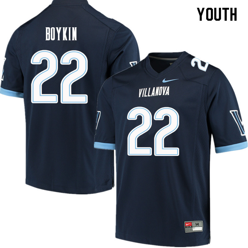Youth #22 Dez Boykin Villanova Wildcats College Football Jerseys Sale-Navy