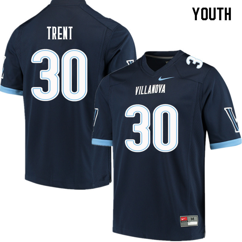 Youth #30 Elijah Trent Villanova Wildcats College Football Jerseys Sale-Navy
