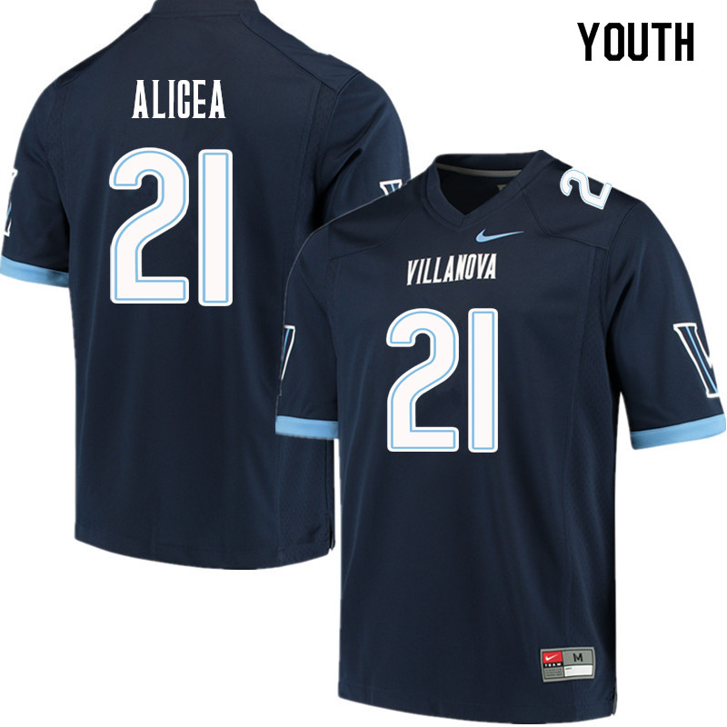 Youth #21 Isaiah Alicea Villanova Wildcats College Football Jerseys Sale-Navy