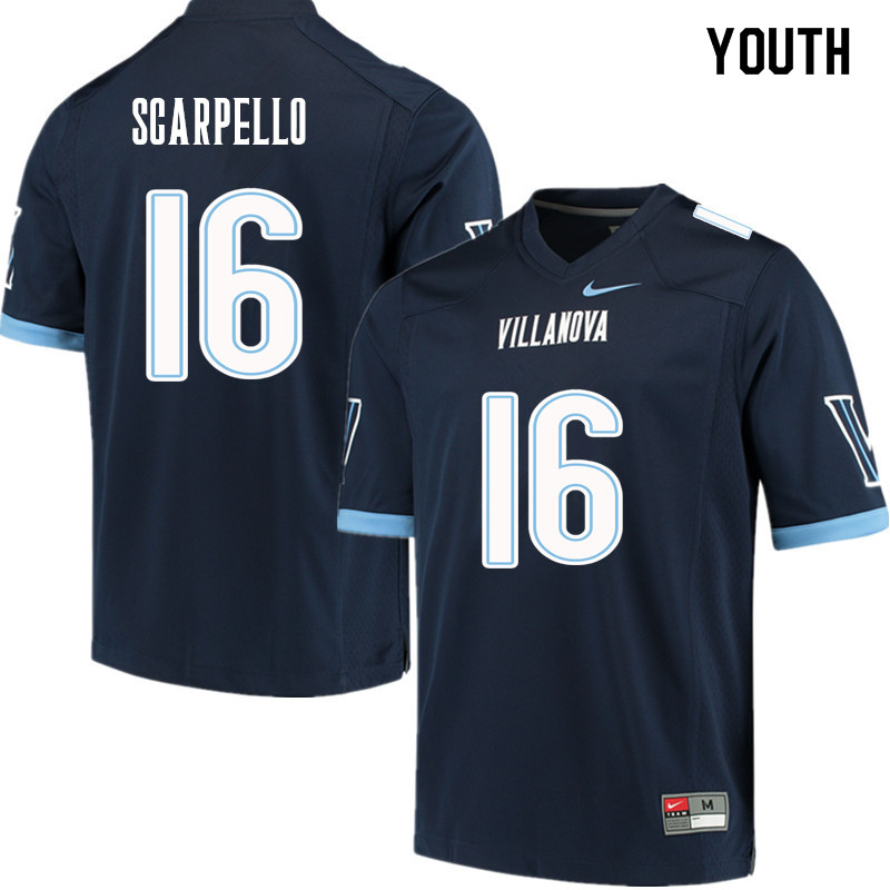 Youth #16 JJ Scarpello Villanova Wildcats College Football Jerseys Sale-Navy
