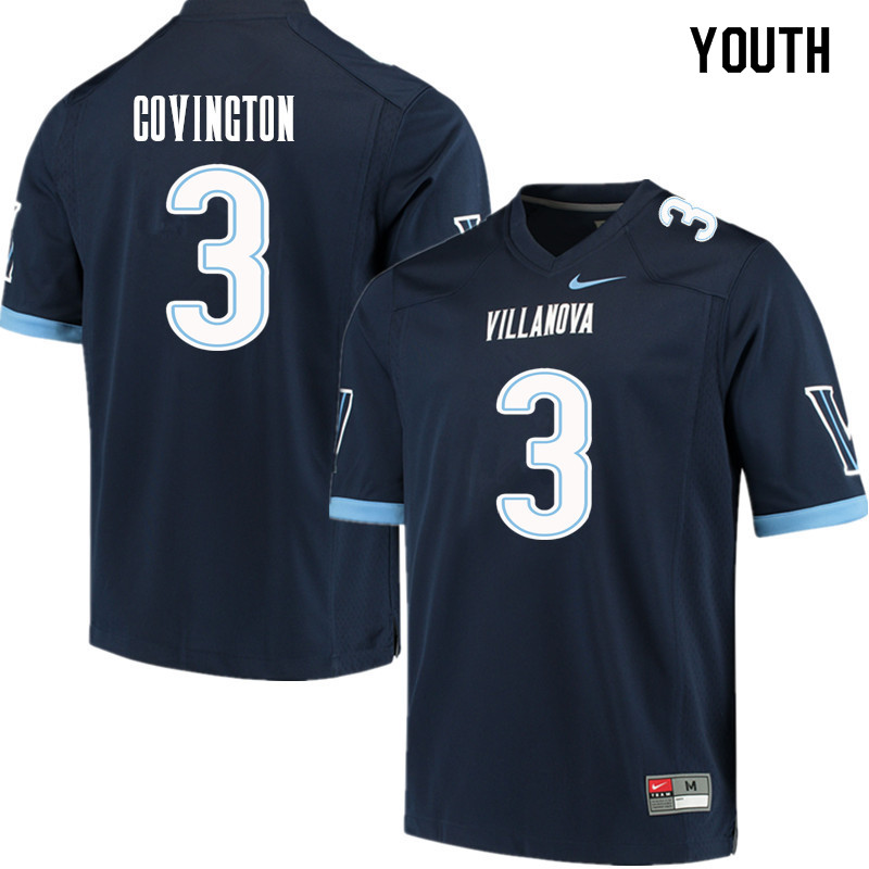 Youth #3 Justin Covington Villanova Wildcats College Football Jerseys Sale-Navy