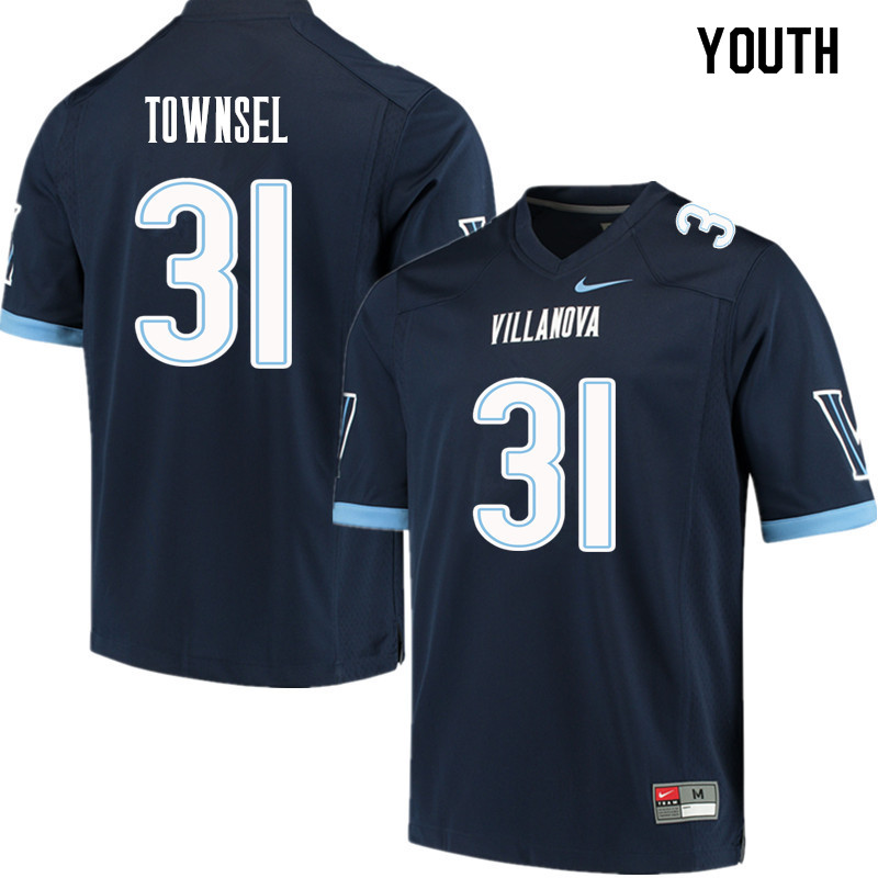Youth #31 Qwashin Townsel Villanova Wildcats College Football Jerseys Sale-Navy