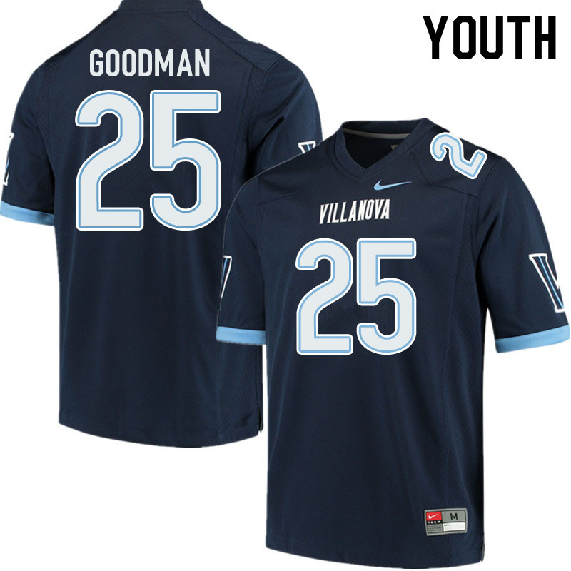 Youth #25 Jalen Goodman Villanova Wildcats College Football Jerseys Sale-Navy