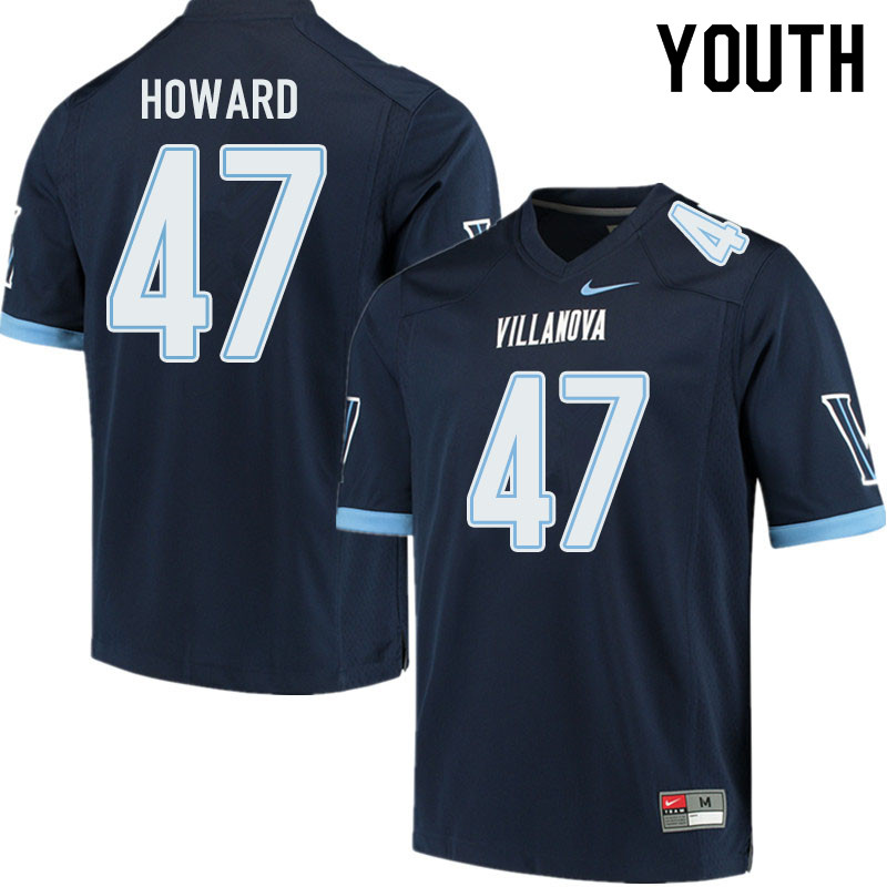 Youth #47 Jalen Howard Villanova Wildcats College Football Jerseys Sale-Navy