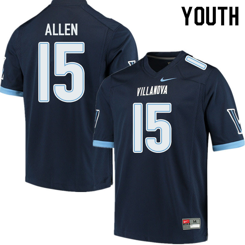 Youth #15 Jaquan Allen Villanova Wildcats College Football Jerseys Sale-Navy