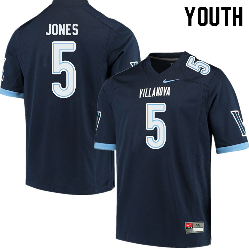 Youth #5 Jevon Jones Villanova Wildcats College Football Jerseys Sale-Navy