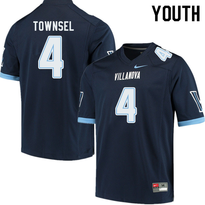 Youth #4 Qwashin Townsel Villanova Wildcats College Football Jerseys Sale-Navy
