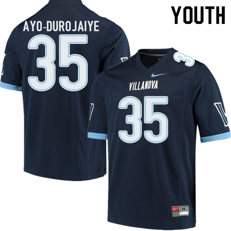Youth #35 TD Ayo-Durojaiye Villanova Wildcats College Football Jerseys Sale-Navy