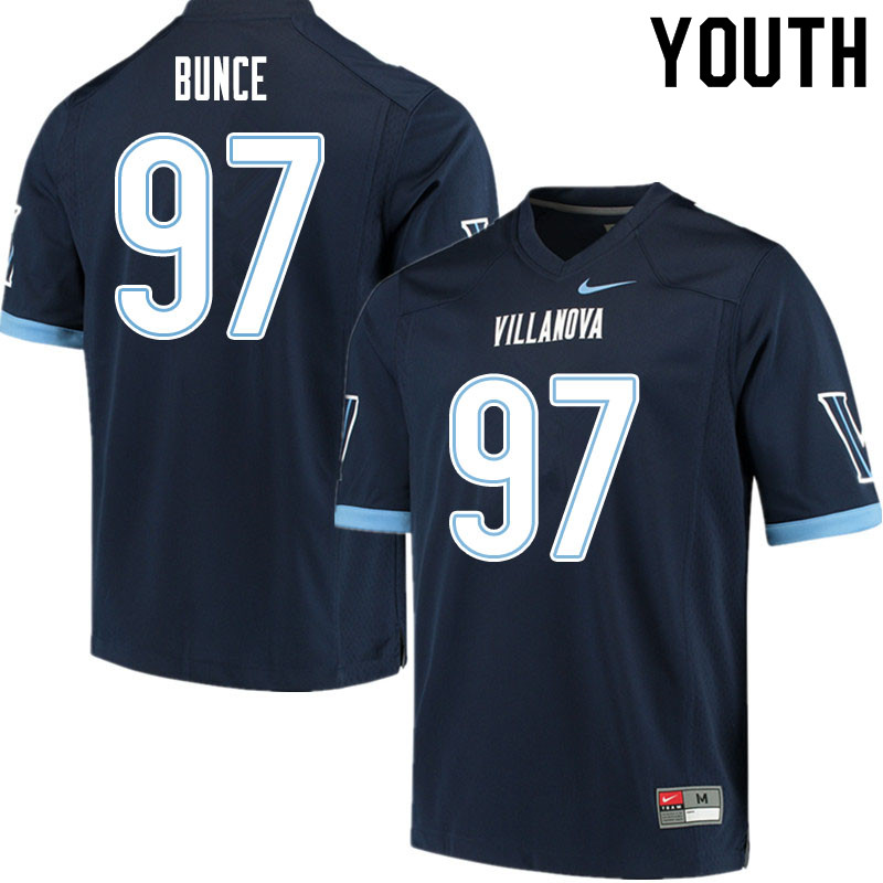 Youth #97 Cole Bunce Villanova Wildcats College Football Jerseys Sale-Navy