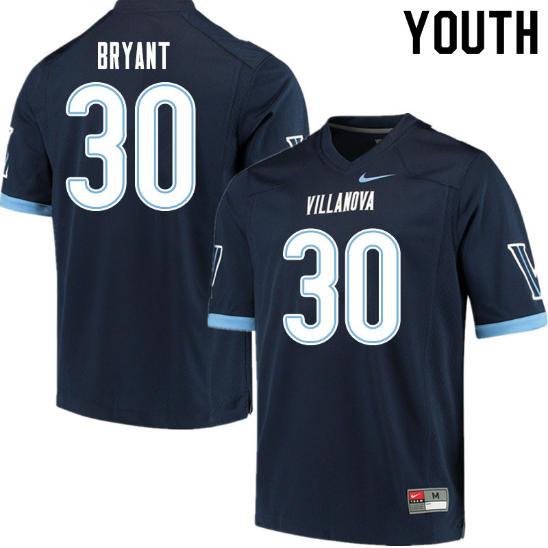 Youth #30 Dapree Bryant Villanova Wildcats College Football Jerseys Sale-Navy