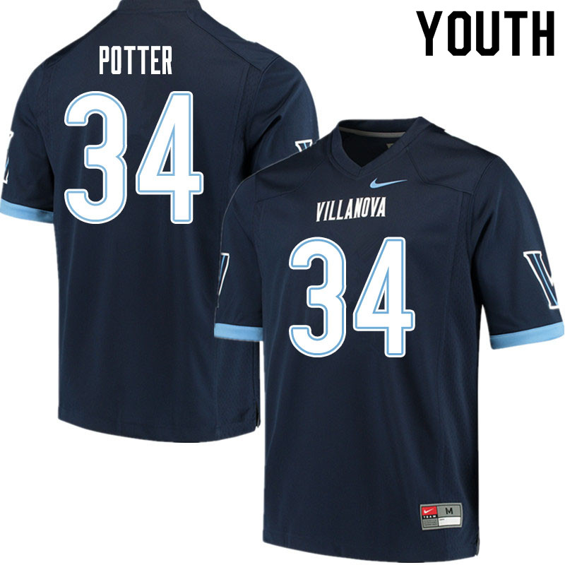 Youth #34 Ethan Potter Villanova Wildcats College Football Jerseys Sale-Navy
