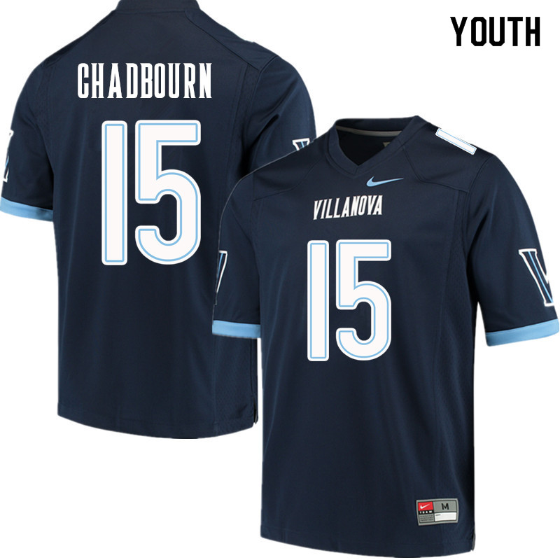 Youth #15 Brandon Chadbourn Villanova Wildcats College Football Jerseys Sale-Navy