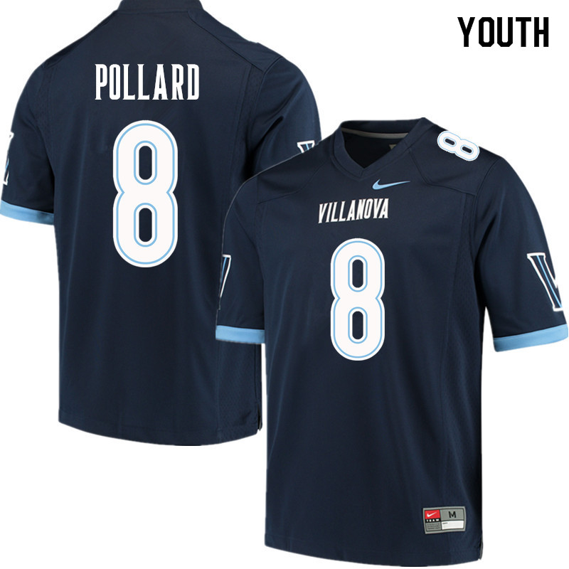 Youth #8 D'Andre Pollard Villanova Wildcats College Football Jerseys Sale-Navy