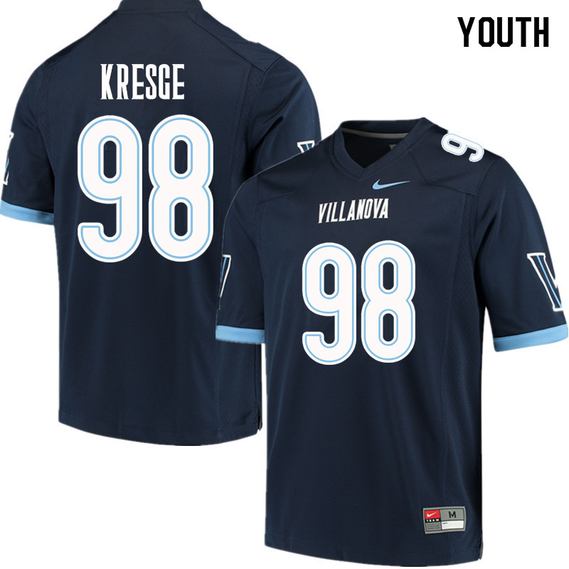 Youth #98 Drew Kresge Villanova Wildcats College Football Jerseys Sale-Navy