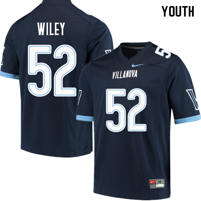 Youth #52 Drew Wiley Villanova Wildcats College Football Jerseys Sale-Navy