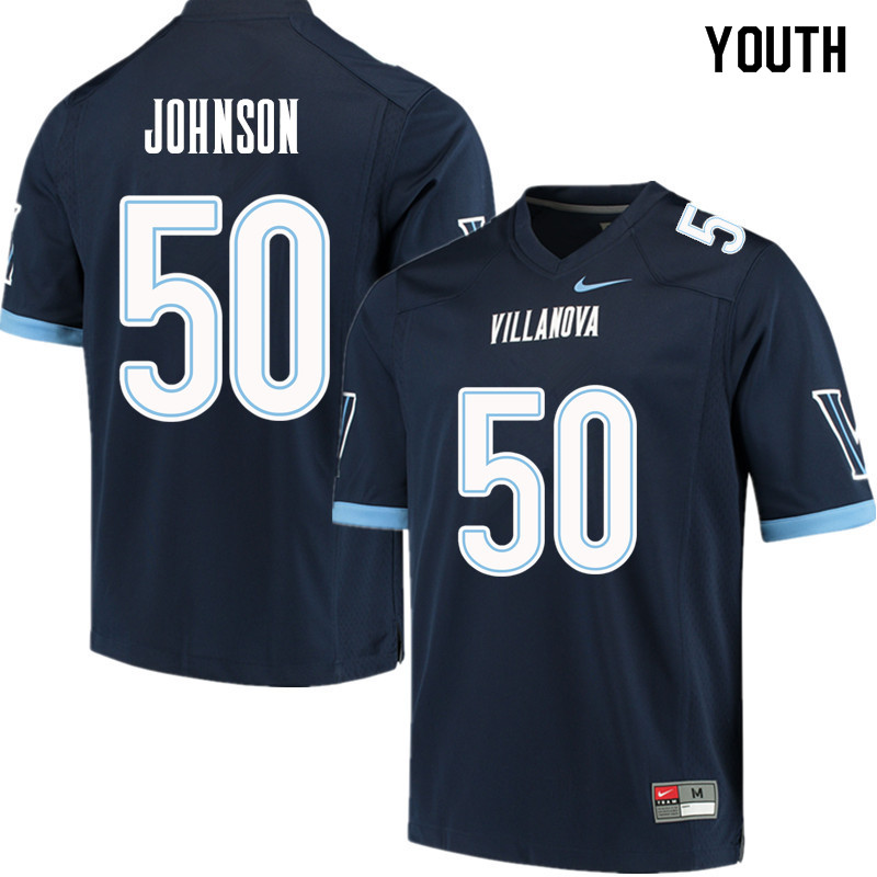 Youth #50 Jafonta Johnson Villanova Wildcats College Football Jerseys Sale-Navy