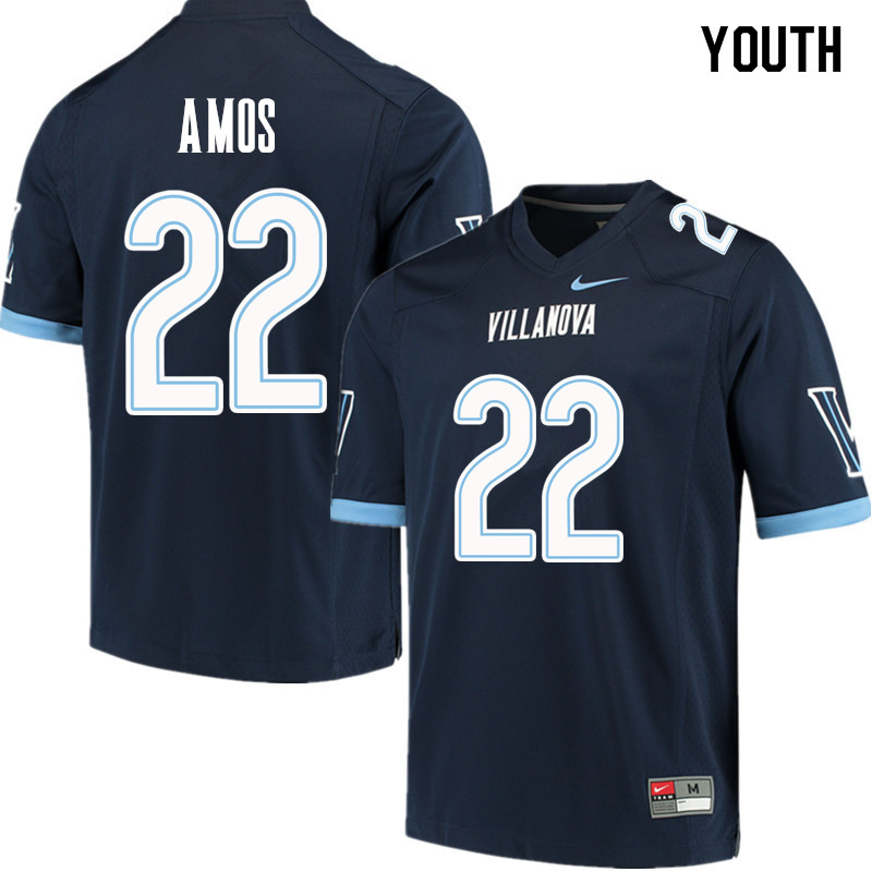Youth #22 Jaquan Amos Villanova Wildcats College Football Jerseys Sale-Navy