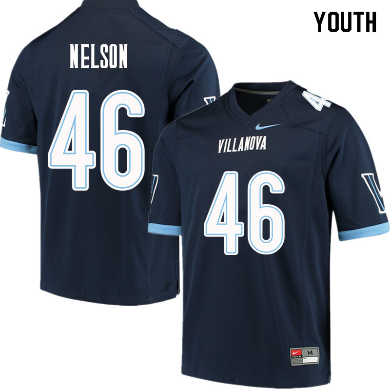 Youth #46 Jared Nelson Villanova Wildcats College Football Jerseys Sale-Navy