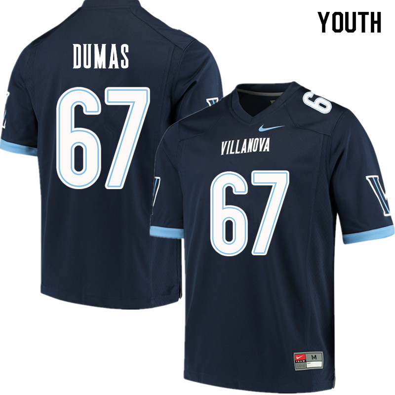 Youth #67 MJ Dumas Villanova Wildcats College Football Jerseys Sale-Navy