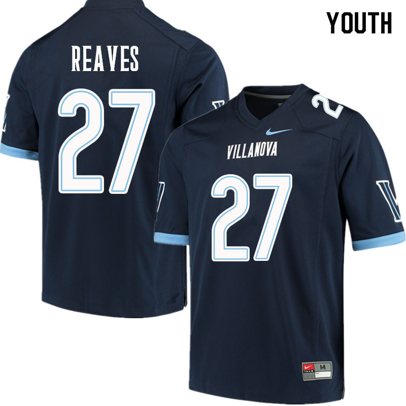 Youth #27 Malik Reaves Villanova Wildcats College Football Jerseys Sale-Navy