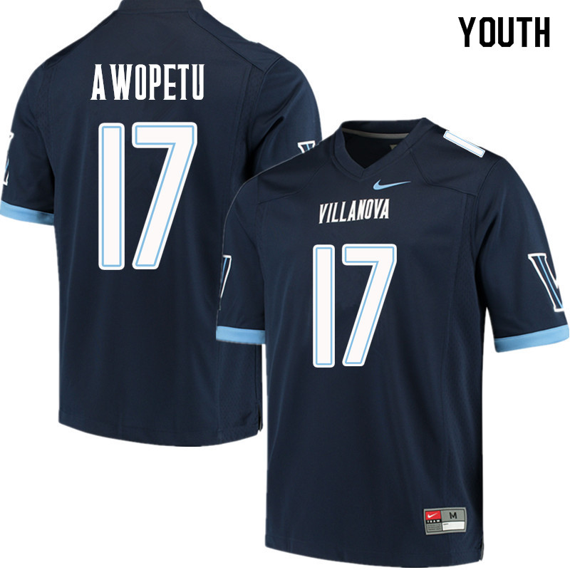 Youth #17 Nowooola Awopetu Villanova Wildcats College Football Jerseys Sale-Navy