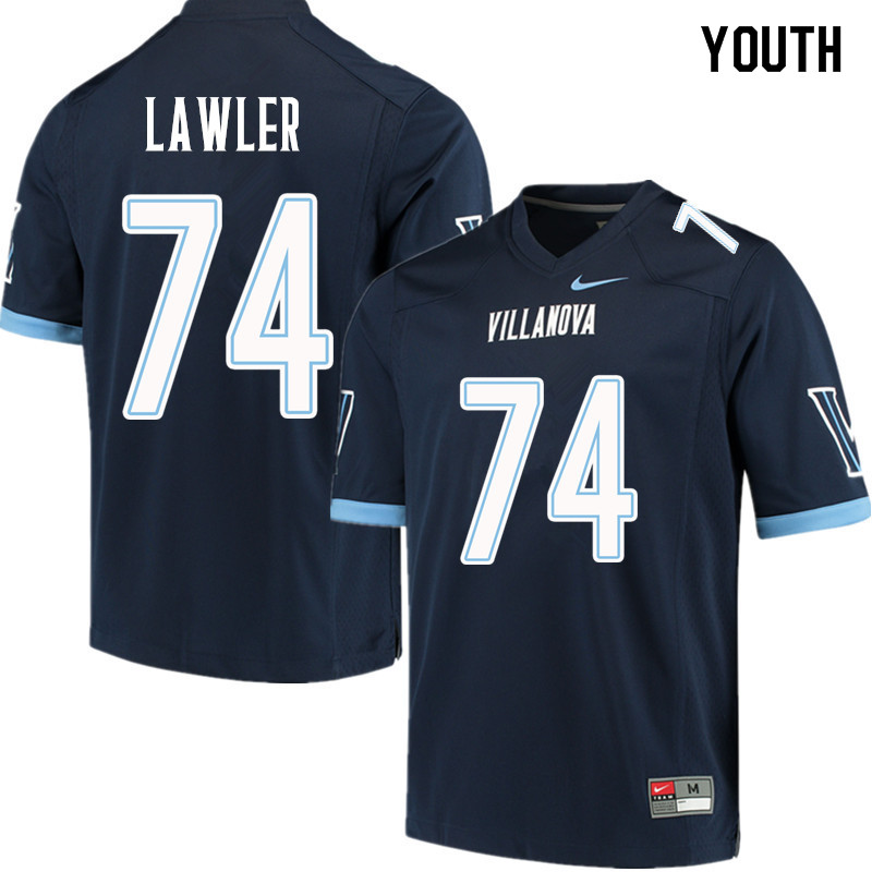 Youth #74 Patrick Lawler Villanova Wildcats College Football Jerseys Sale-Navy