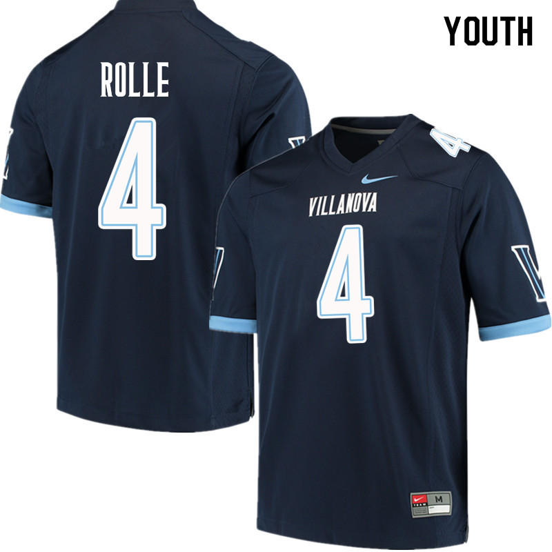Youth #4 Rob Rolle Villanova Wildcats College Football Jerseys Sale-Navy