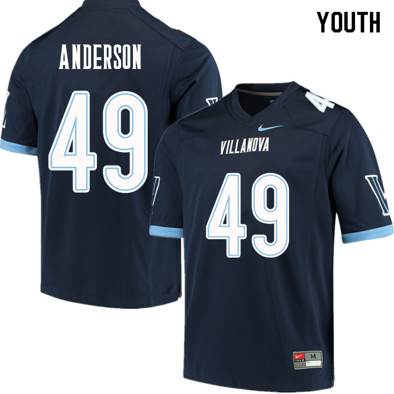 Youth #49 Trajan Anderson Villanova Wildcats College Football Jerseys Sale-Navy