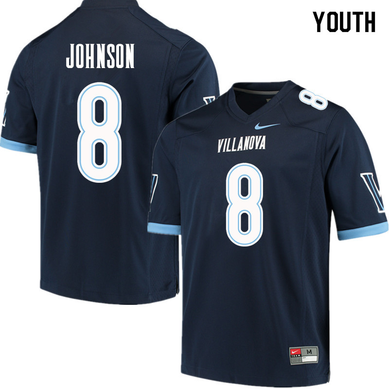 Youth #8 Trey Johnson Villanova Wildcats College Football Jerseys Sale-Navy